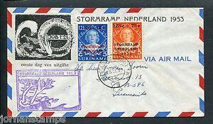 Suriname-VOORLOPER-FDC-V1-1M-Stormrampzegels-met-adres