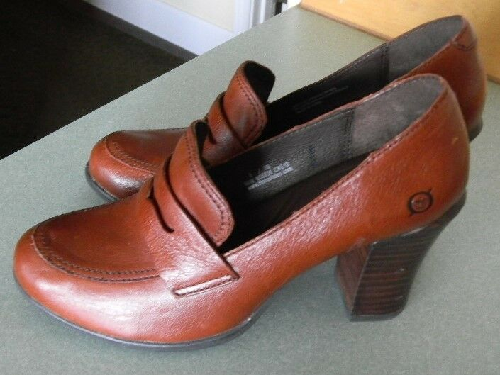 NEW   Born 'Gail' Rubber Sole Rust Brown Leather High Heel Penny Loafer Sz 8 39