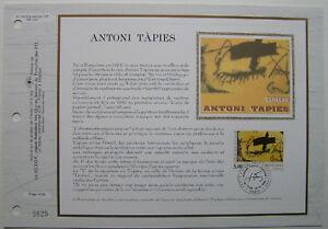 ANTONI-TAPIES-Feuillet-CEF-Timbre-1er-jour-SOIE-1992
