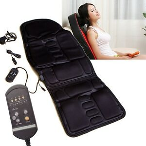 black back massage chair heat seat cushion neck pain lumbar support pads car ebay. Black Bedroom Furniture Sets. Home Design Ideas