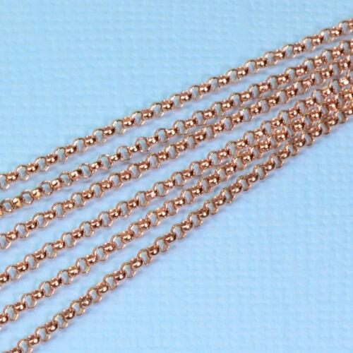 14K Rose Gold Filled Bulk Rolo Chain 1.5mm link