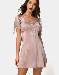 MOTEL-ROCKS-Guenette-Dress-in-Satin-Mink-Size-Small-S-mr24