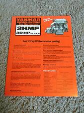 Yanmar Marine Diesel Engine 3HMF 30 HP Dealer Sales Brochure Sheet Specification