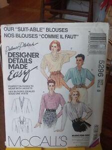 Oop-Mccalls-Palmer-Pletsch-5296-misses-blouses-collar-details-sz-8-NEW