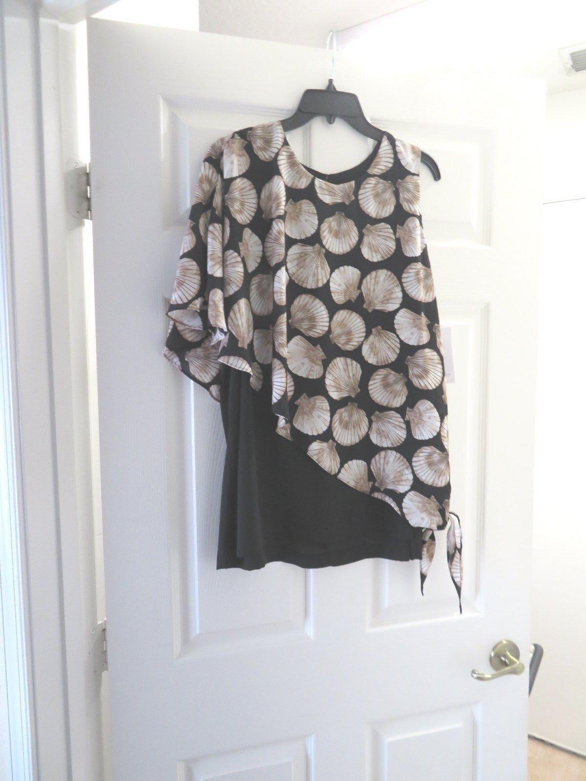 Karen Kane,Seashell, Layered ,,Unique,Short Sleeveless Top,XL,Tie At HipSlimming