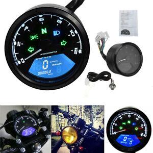 12000RPM Motorcycle LCD Digital Universal Odometer Speedometer Tachometer Gauge