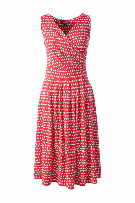Lands End Women's Fit and Flare Dress Crimson Dawn Dots New