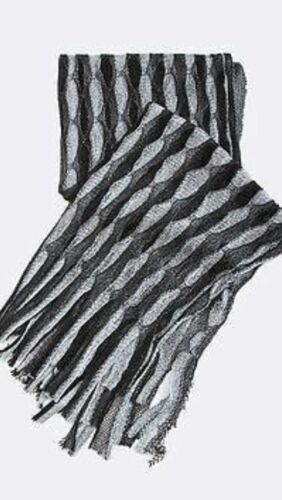 B80 Metallic Glitter Thread Black Silver Mermaid Open Weave Boutique Shawl Scarf