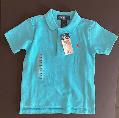 Polo Ralph Lauren Baby Boys Short Sleeve Mesh Polo Shirts Blue 18 Months