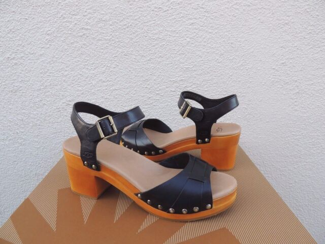 UGG JANIE BLACK LEATHER ANKLE STRAP CLOGS/ SANDALS, WOMENS US 7/ EUR 38