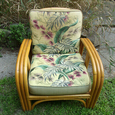 Vintage 1950s Bamboo Patio Chair W, Bamboo Patio Furniture Cushions