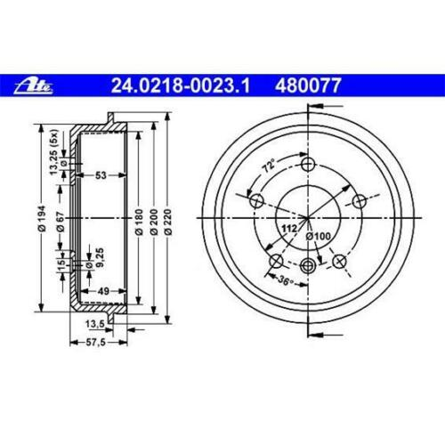 ATE 24.0218-0023.1 Bremstrommeln 2 Stück für MERCEDES-BENZ
