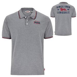 Lonsdale Original Grey Burton Polo Shirt Embroided Logo Regular-Fit Hemd