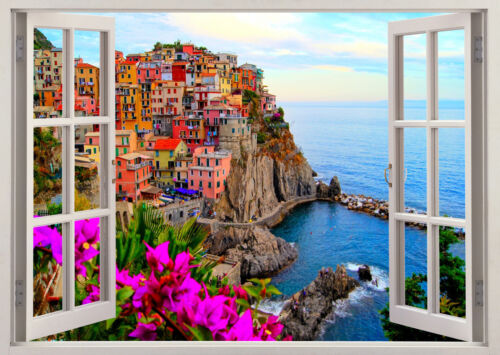 Italy Houses Vernazza Street Seaside  3D Effect Window Sticker Vinyl Poster 380