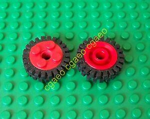 1x-Lego-6248c01-Wheel-Freestyle-Black-Tire-Offset-Tread-6248-3483-RED