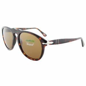e3143ce36a3 Persol PO 649 24 57 Havana Plastic Aviator Sunglasses Brown ...