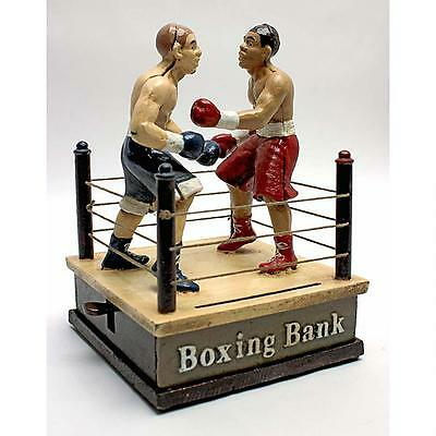 Die Cast Iron Boxing Ring Boxers Bet Fight Antique Replica Mechanical Coin Bank