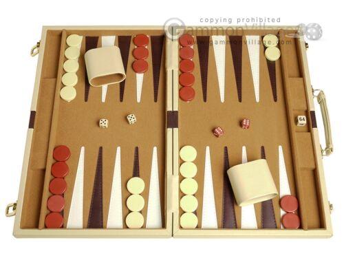Deluxe Backgammon Set - Stylish CAMEL Leatherette Case 15