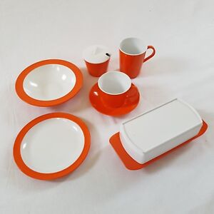 Ensemble-de-vaisselle-melamine-orange-vintage-Swift-Devon-Uk
