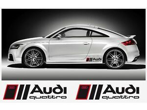 2x audi quattro stickers premium side stripes f ebay. Black Bedroom Furniture Sets. Home Design Ideas