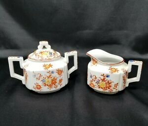 Vintage-Trico-Sugar-and-Creamer-Orange-Floral-Made-in-Japan