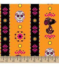 Peanuts Snoopy Sugar Skulls Stripe Cotton Fabric ~ 43 x 17 remnant