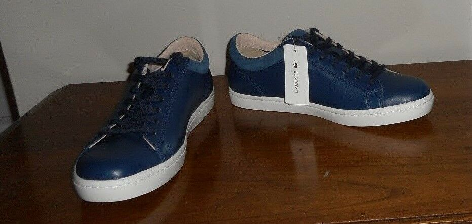 Lacoste Navy Straight Set W1 Leather Fashion Sneakers Size 8.5 NWOB