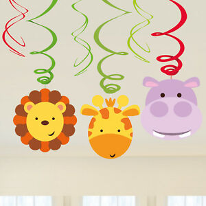 JUNGLE-ANIMAL-DECORATIONS-JUNGLE-FRIENDS-HANGING-SWIRL-PARTY-SUPPLIES-6-PACK
