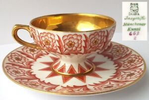 Couvert-Collection-Mokka-Cafe-Tasse-Soucoupe-Or-Bavaria-Um-1920-L922