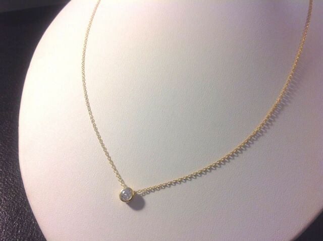 Solitaire Necklace-14 KT Gold Plated Sterling Silver 925-Round Bezel CZ-Adjusts