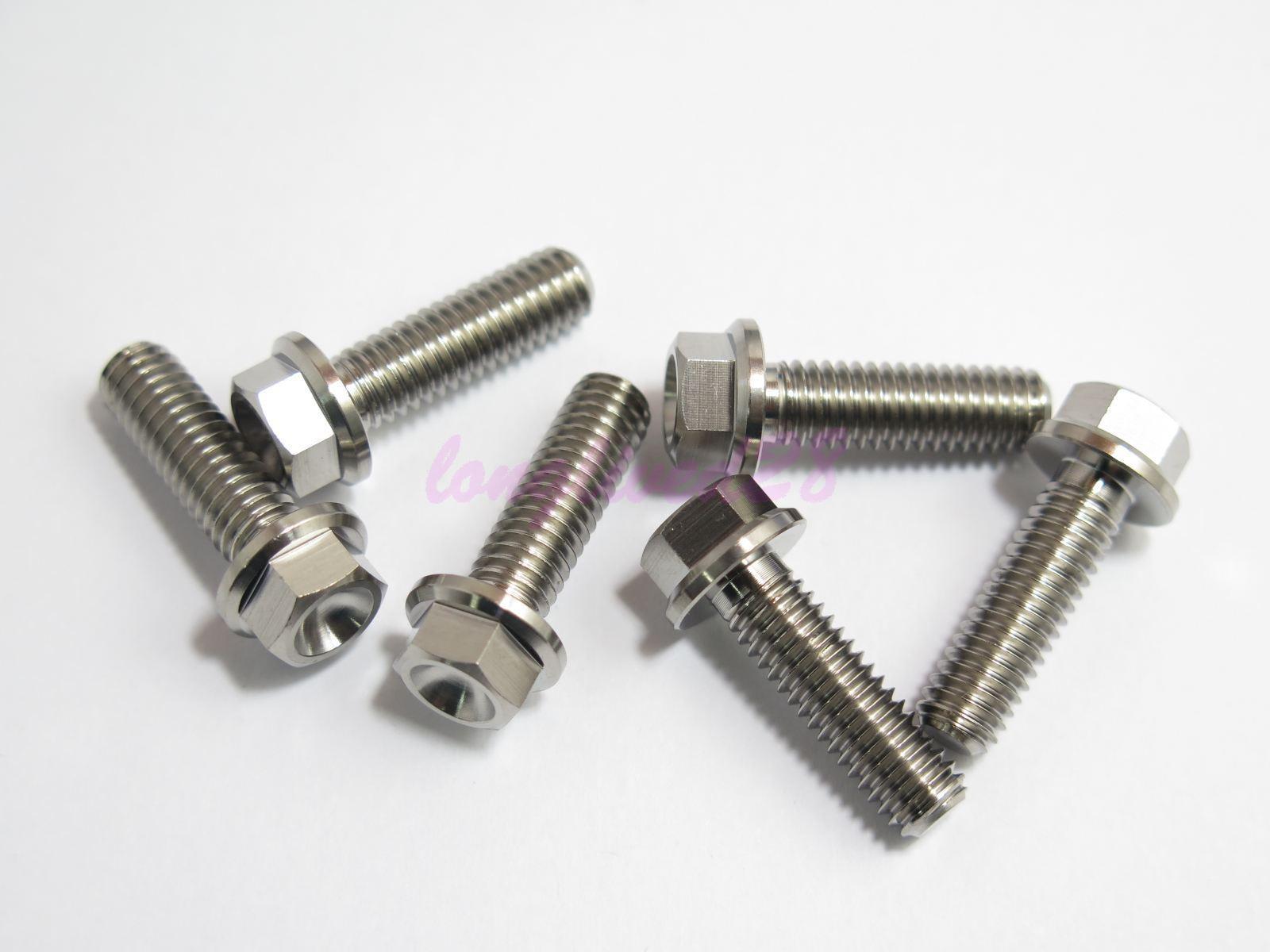 M8 x 20mm Titanium Ti Bolt Flange Head 10mm Hex Screw Fastener GR5 2//6//10pcs