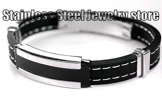 Mens Stainless Steel Bracelet Men's Fashion Rubber Bangles Black Silver SR057