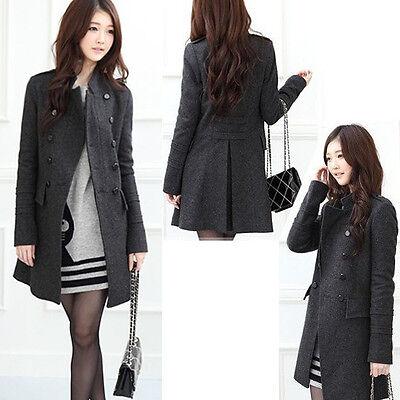 Women's Ladies Lapel Windbreaker Long Winter Parka Coat Trench Outwear Jacket