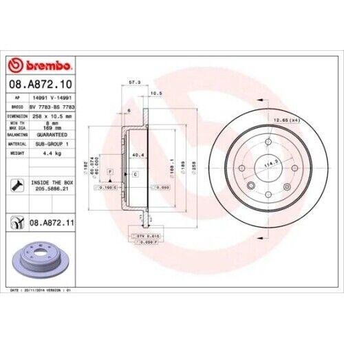 2 Bremsscheibe BREMBO 08.A872.11 COATED DISC LINE passend für CHEVROLET DAEWOO