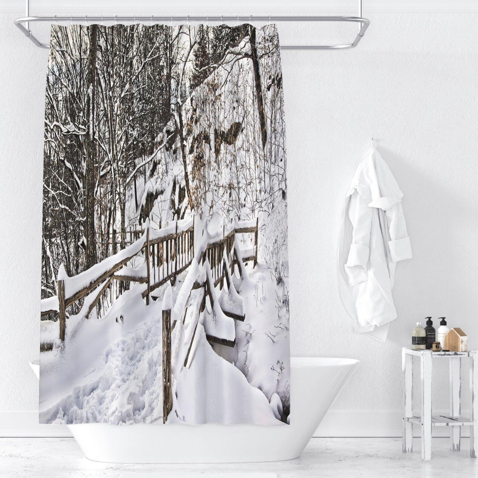3D Snow Scene 1 Shower Curtain Waterproof Fiber Bathroom Home Windows Toilet