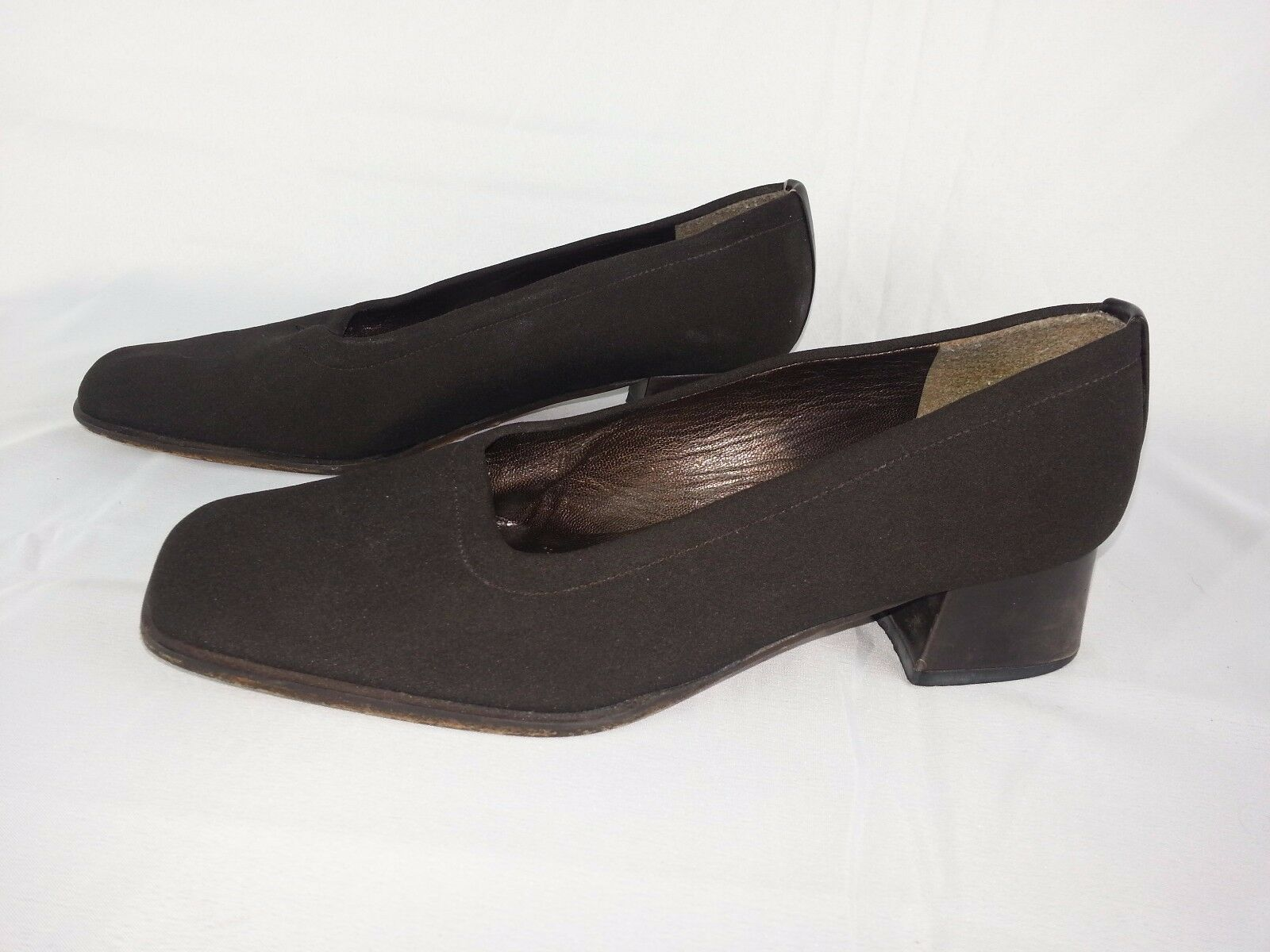 Stuart Weitzman Women`s Brown Fabric Slip On Wedge Loafers shoes Size 6.5 M