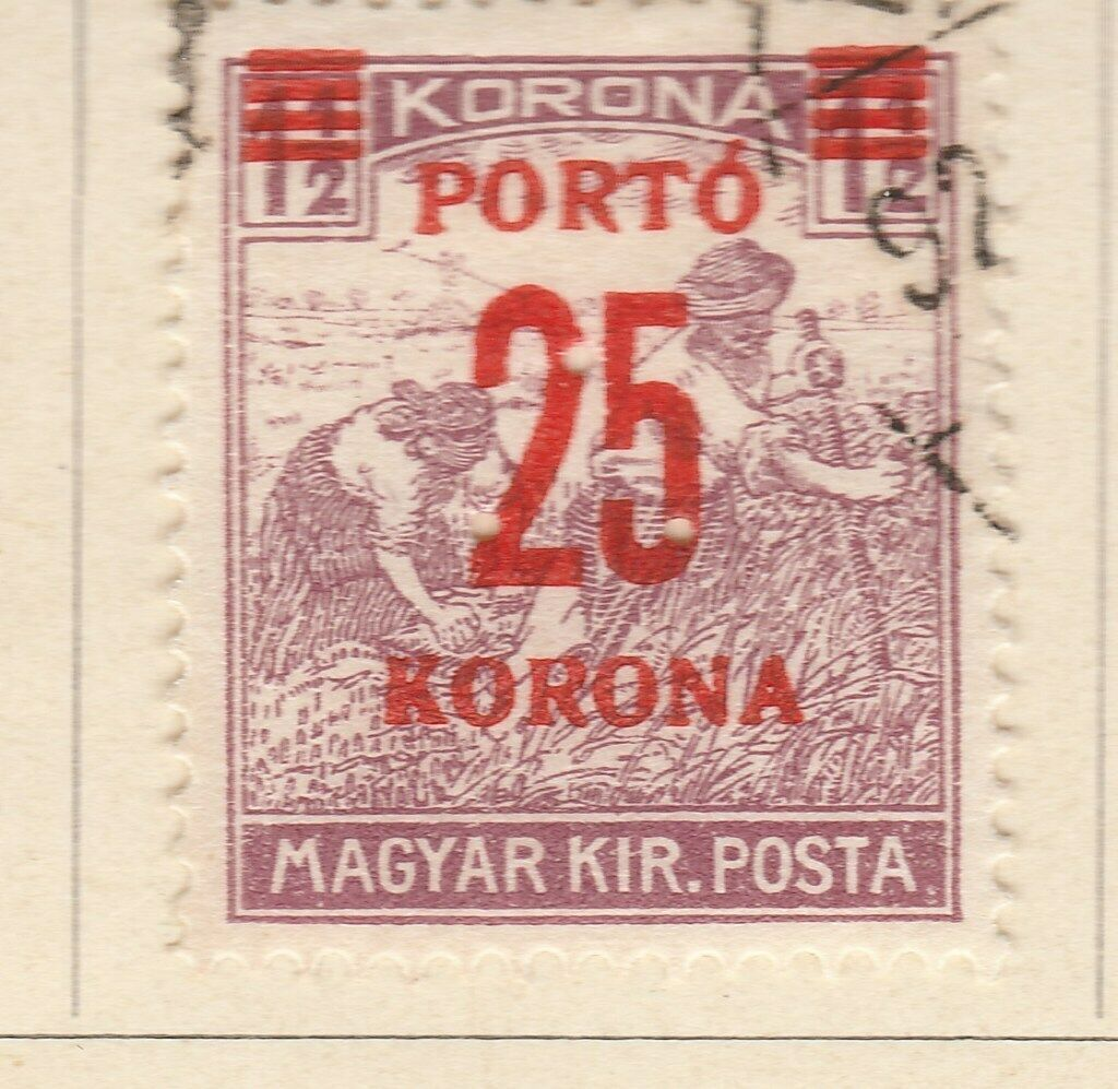 A6P8F70 Hungría Hungary Postage Due Stamp 1921-25 surch 25k on 1 1/2k used