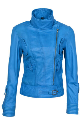 Casual Fashion Biker Ladies Blue Style Leather Superstar Electric Napa Jacket wa7UqZB