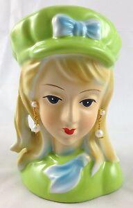 Gorgeous-Lime-Green-Robins-Egg-Blue-Teen-Girl-Headvase-60s-Mod-Fashion-Head-Vase