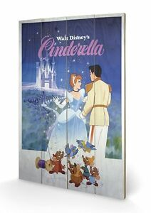 Wooden-Wall-Art-CINDERELLA-Walt-Disney-s-ca40x59cm-Kunstdruck-auf-Holz-WS038