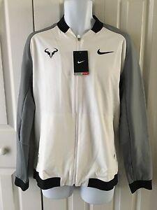 Nike Mens Premier Rafael Nadal Jacket White Gray Bull Logo Ebay