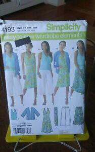 Simplicity-easy-sew-4193-miss-resort-wear-knits-dress-tops-skirts-sz-20-28-NEW