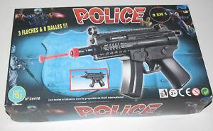 Kit Pistolet Fusil d'Assault Police 25 cm en Plastique + Flêches & Balles