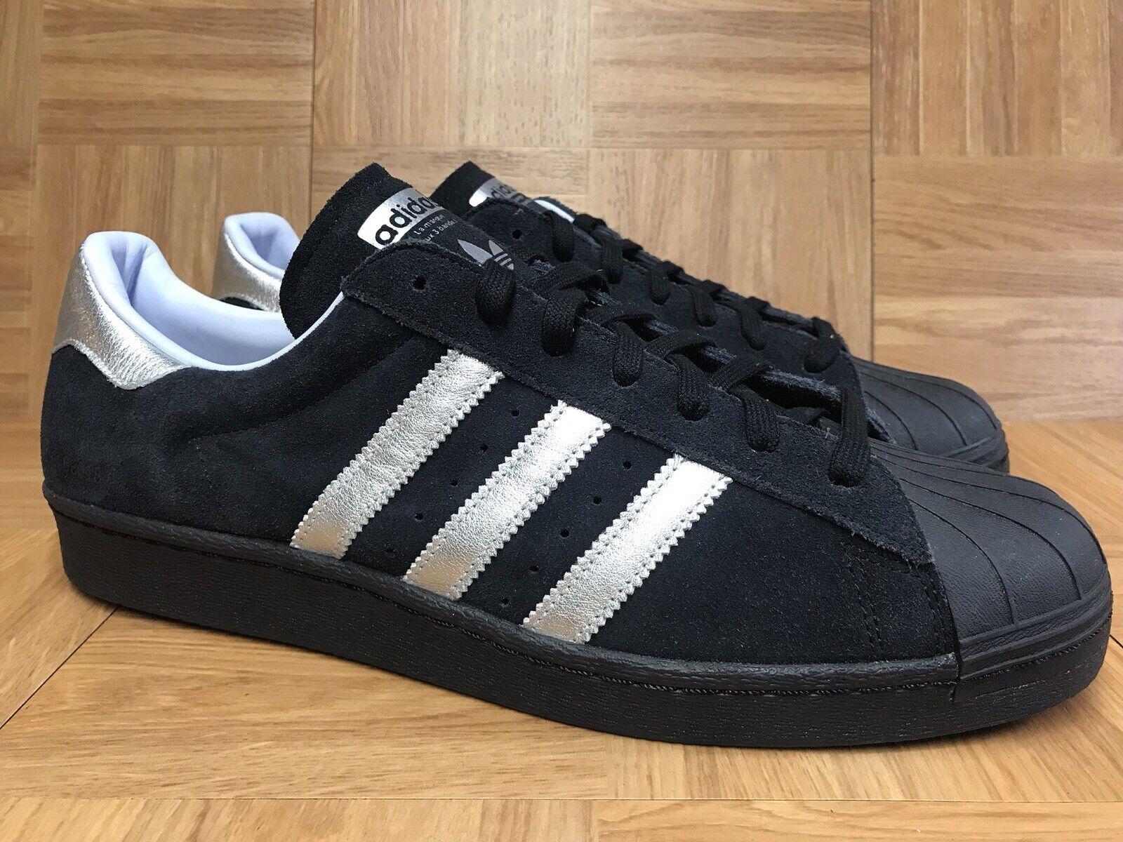 RARE Adidas Superstar shoes Black Silver gold Suede Sz 13 B94463 Mi-Adidas