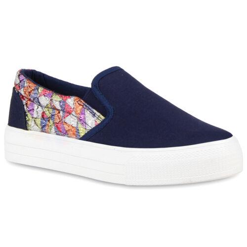 Damen Plateau Sneaker Glitzer Prints Slip On Turnschuhe Slippers 810627 Schuhe
