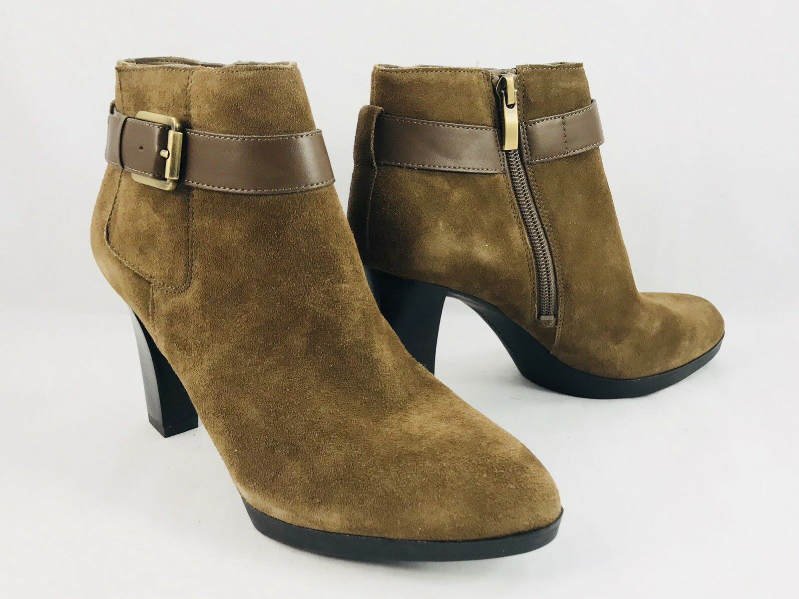 Franco Sarto Idrina Heeled Ankle Bootie Brown Suede Size 6.5