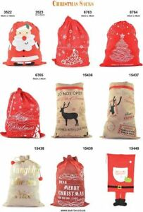 De Hesse Noël Sac Avec Poignées Enfants Noël Santa Stocking cadeau Sac UK