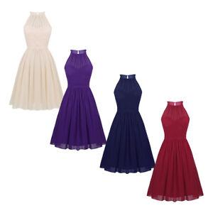 Womens-Ladies-Chiffon-Evening-Cocktail-Party-Dress-Swing-Halter-Spaghetti-Dress