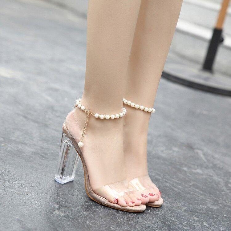 Women's Clear Transparent Evening Party Sandals Ladies Block Heel Dress shoes Sz
