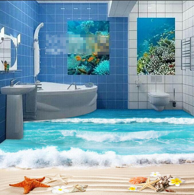 3D Surf Petals Beach 46 Floor WallPaper Murals Wall Print Decal AJ WALLPAPER